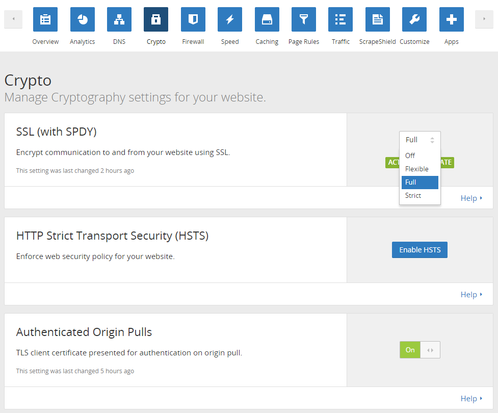 CloudFlare Control Panel
