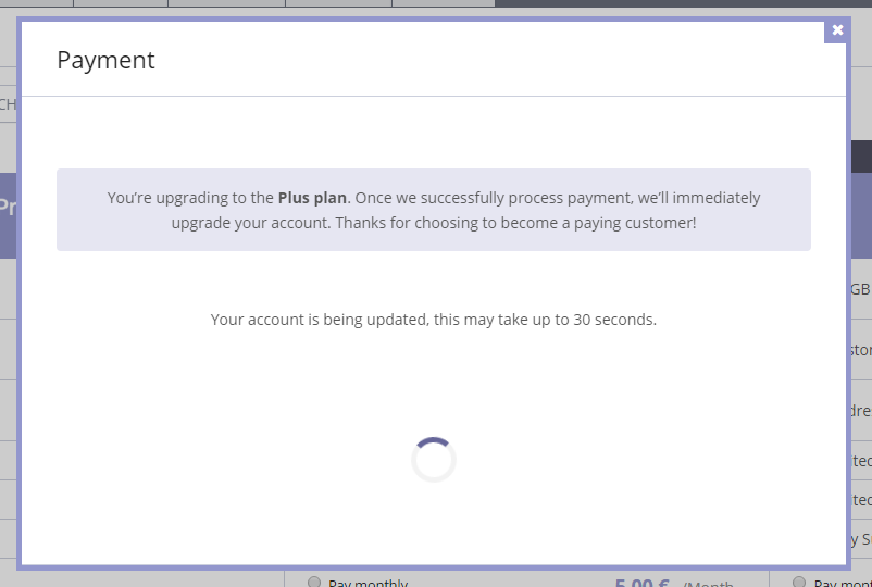 The progress dialog. I almost missed this because it took less than 5 seconds to process the payment.
