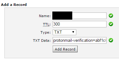 "Back into our host, we'll need to input the data. The name field in my case does not accept ""@"". Instead, I had to insert my domain: domain.com. (including the ending period)"