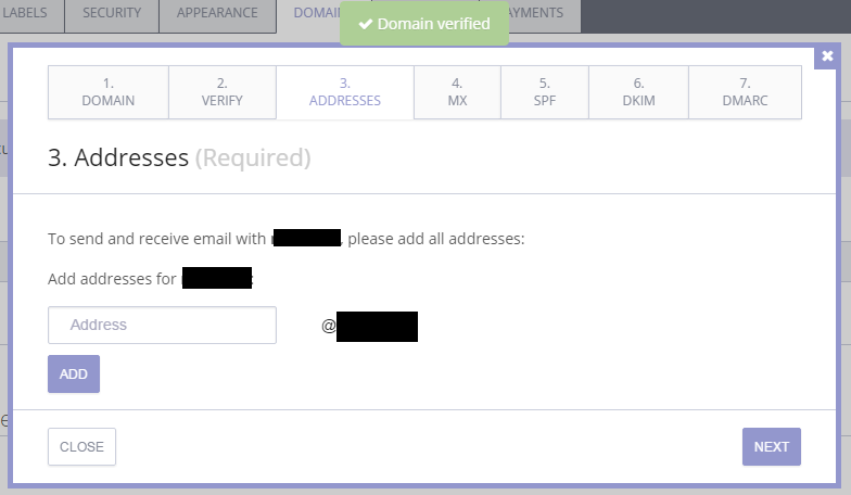 Although the previous step said it may take a day for the DNS to update, it took less than 5 seconds. The next step is to add all the nice email addresses we want to use (up to 5 email addresses on the default ProtonMail Plus plan).