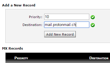 Back into our host (cPanel in this instance), in the MX Records, we'll add the MX record just as ProtonMail outlined in the previous screenshot.
