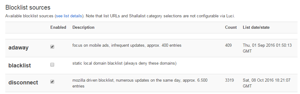 Adblock blocklist source selection